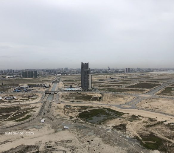 View of Victoria Island and Eko Pearl Towers in Eko Atlantic City