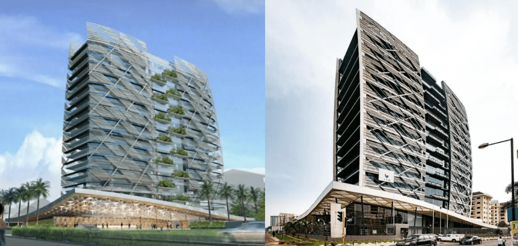 Kingsway Tower. Computer Generated Image vs Completed/Current Status. Image Source: Macsmith Real Estate
