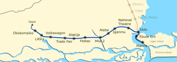 Lagos Urban Rail Network. Blue Line. Image Source: Subways.net