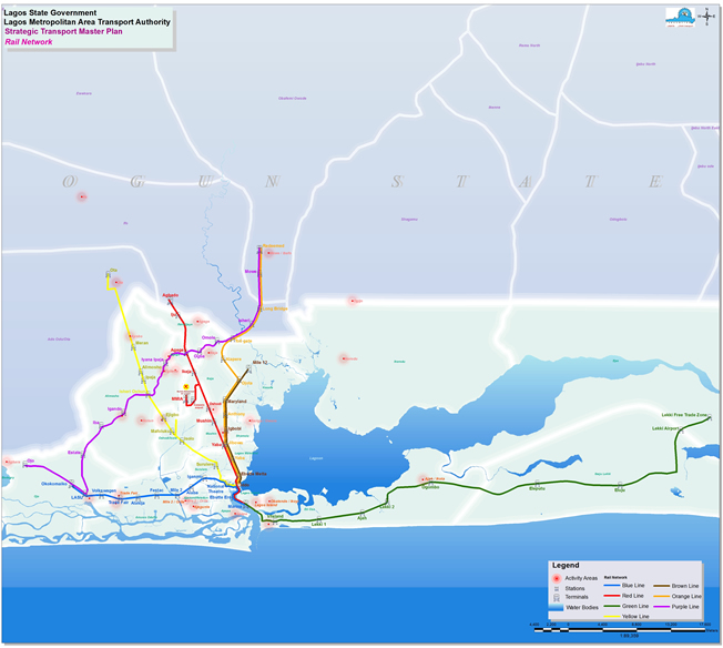 Lagos Urban Rail Network. Image Source: LAMATA