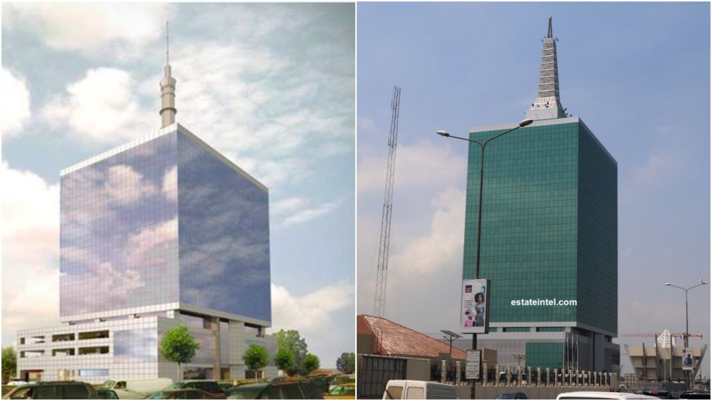 Civic Tower. Computer Generated Image vs Completed/Current Status. Image Source: Omololu Ibhahulu.