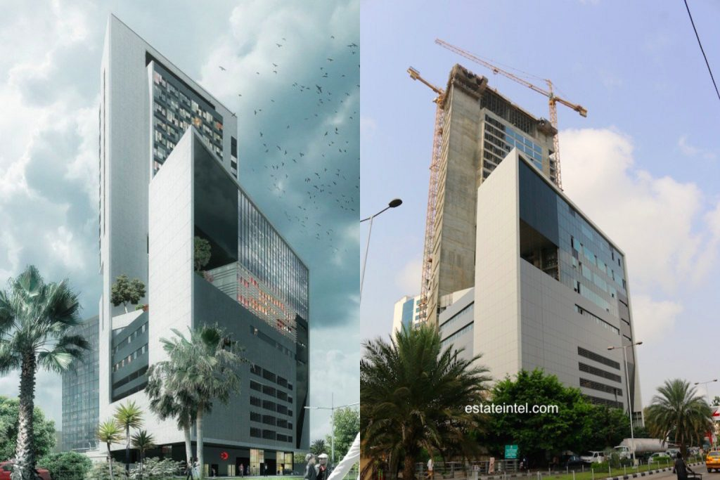 Eko Tower II. Computer Generated Image vs Completed/Current Status. Image Source: Dolapo Omidire.