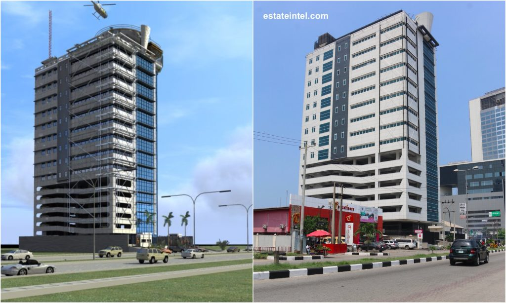 Kanti Tower. Computer Generated Image vs Completed/Current Status. Image Source: Dolapo Omidire.