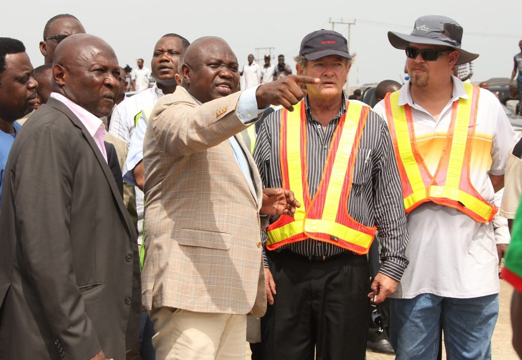 Lagos State Governor, Akinwunmi Ambode (2nd left); Commissioner for Water Infrastructure Development, Adebowale Akinsanya (left); Project Manager, Hitech Construction Company, Lloyd Bekker (right) and another personnel of Hitech during the Governor's recent inspection of the ongoing construction of the Ajah Fly Over.