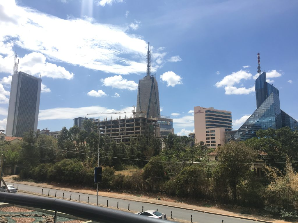 Part of the Upper Hill skyline in Nairobi, Kenya. Britam Tower and Crowne Plaza shown in the middle. Image Source. Instagram.com/estateintel